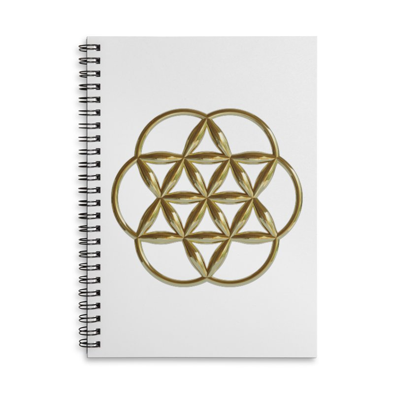 Flowering Seed of Life Au Accessories Lined Spiral Notebook by diamondheart's Artist Shop