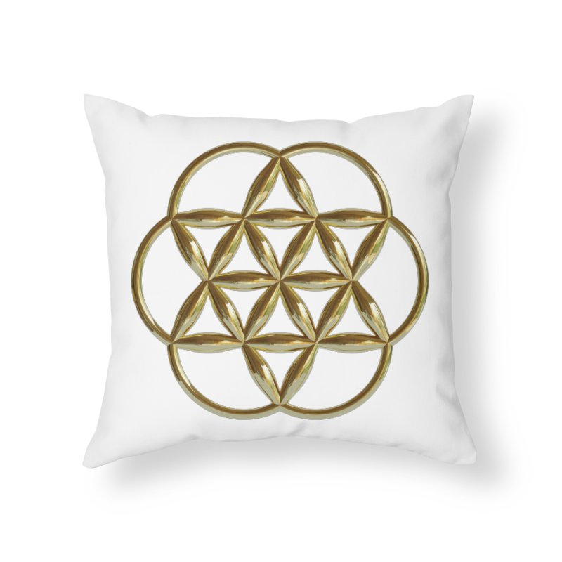 Flowering Seed of Life Au Home Throw Pillow by diamondheart's Artist Shop