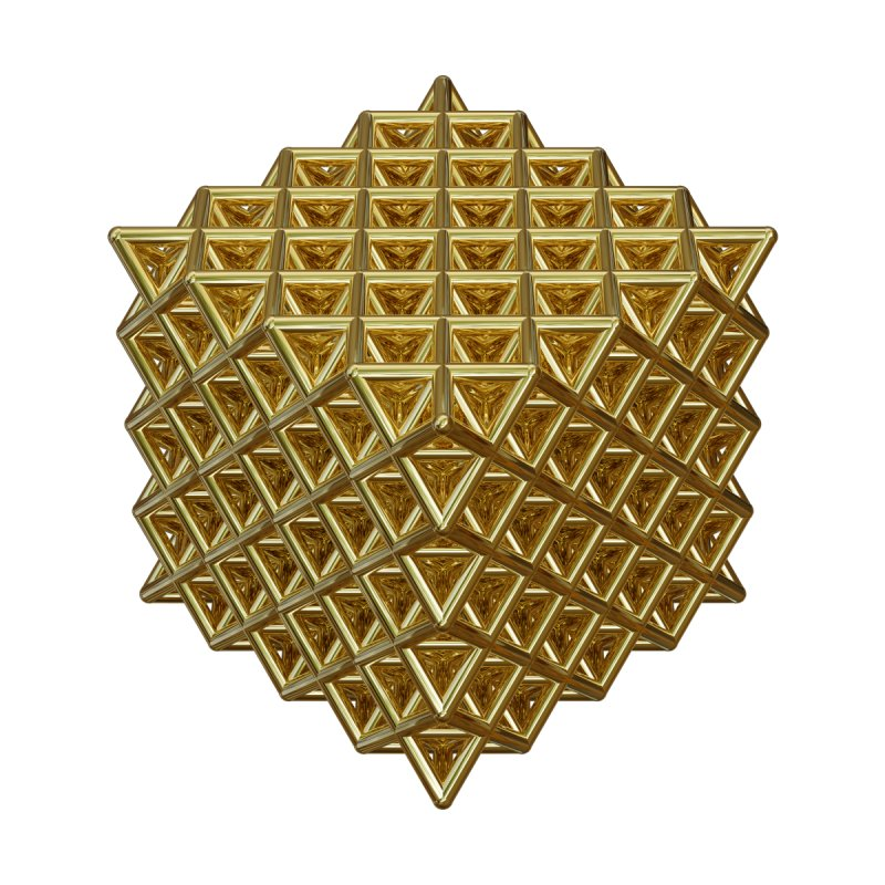 512 Tetrahedron Gold by diamondheart's Artist Shop