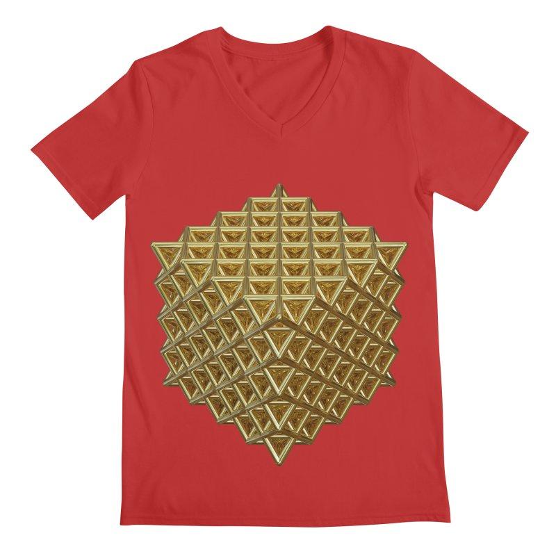 512 Tetrahedron Gold Men's Regular V-Neck by diamondheart's Artist Shop