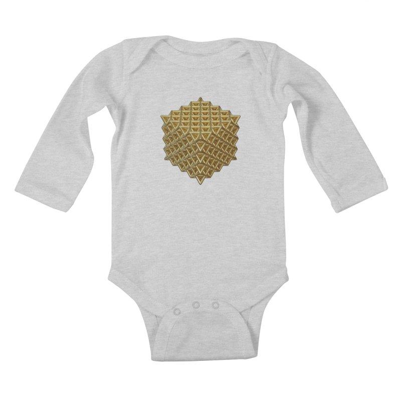 512 Tetrahedron Gold Kids Baby Longsleeve Bodysuit by diamondheart's Artist Shop