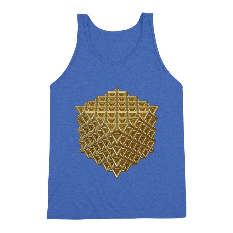 512 Tetrahedron Gold Men's Triblend Tank by diamondheart's Artist Shop