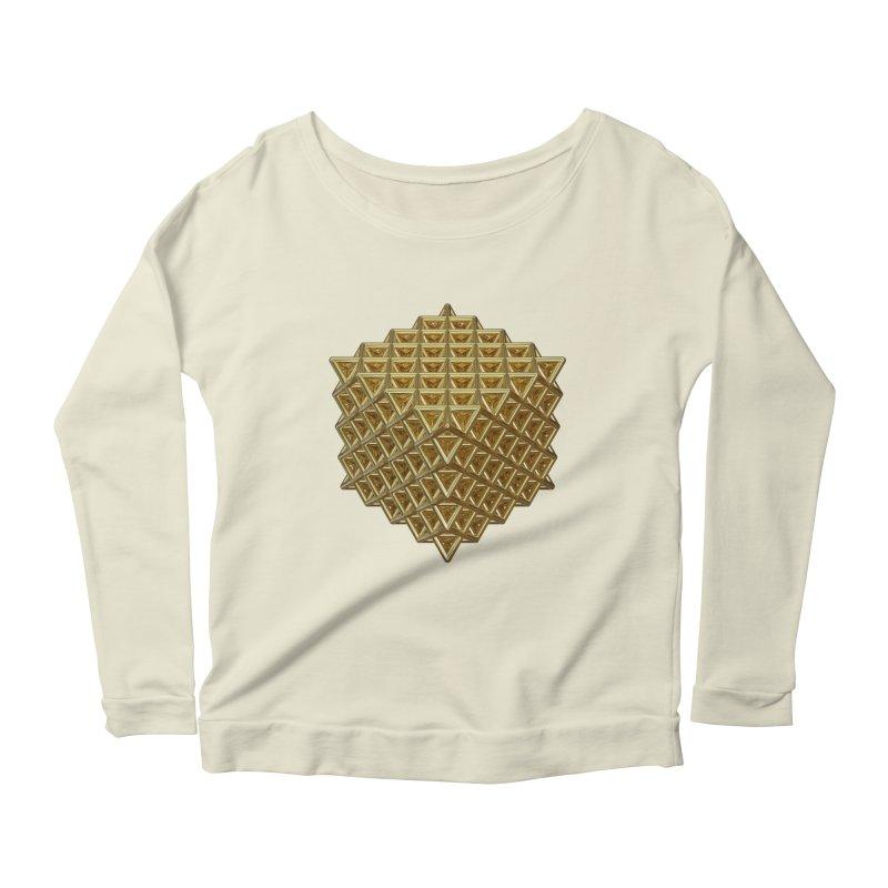 512 Tetrahedron Gold Women's Scoop Neck Longsleeve T-Shirt by diamondheart's Artist Shop