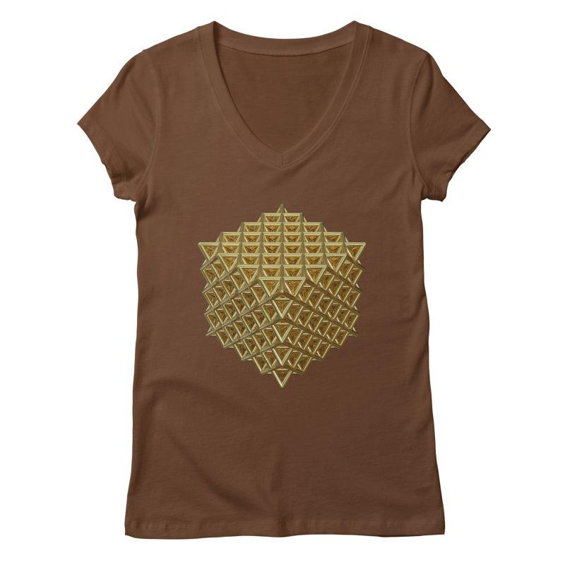 512 Tetrahedron Gold Women's Regular V-Neck by diamondheart's Artist Shop