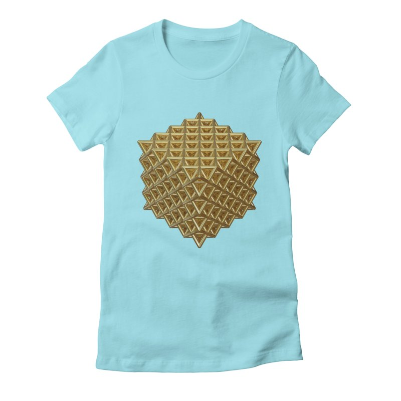 512 Tetrahedron Gold Women's Fitted T-Shirt by diamondheart's Artist Shop