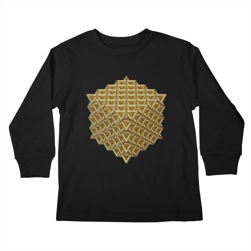 512 Tetrahedron Gold Kids Longsleeve T-Shirt by diamondheart's Artist Shop