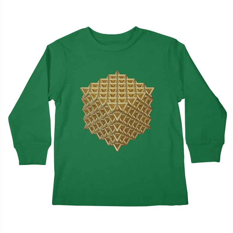 512 Tetrahedron Gold Kids Longsleeve T-Shirt by diamondheart's Artist Shop