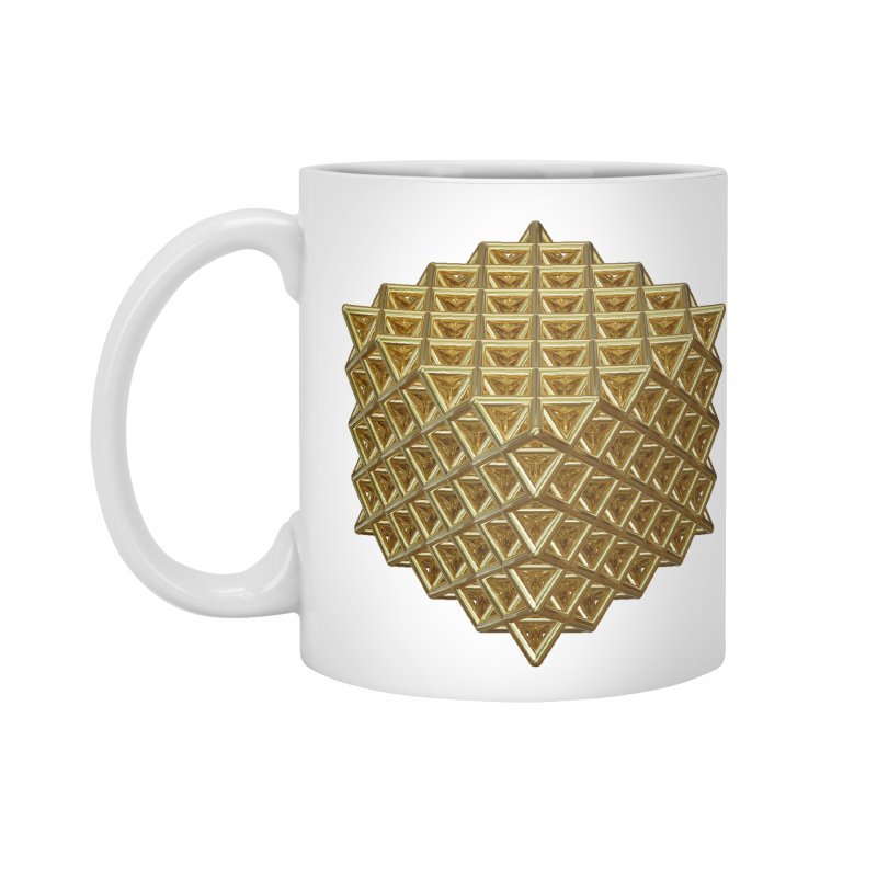 512 Tetrahedron Gold Accessories Standard Mug by diamondheart's Artist Shop