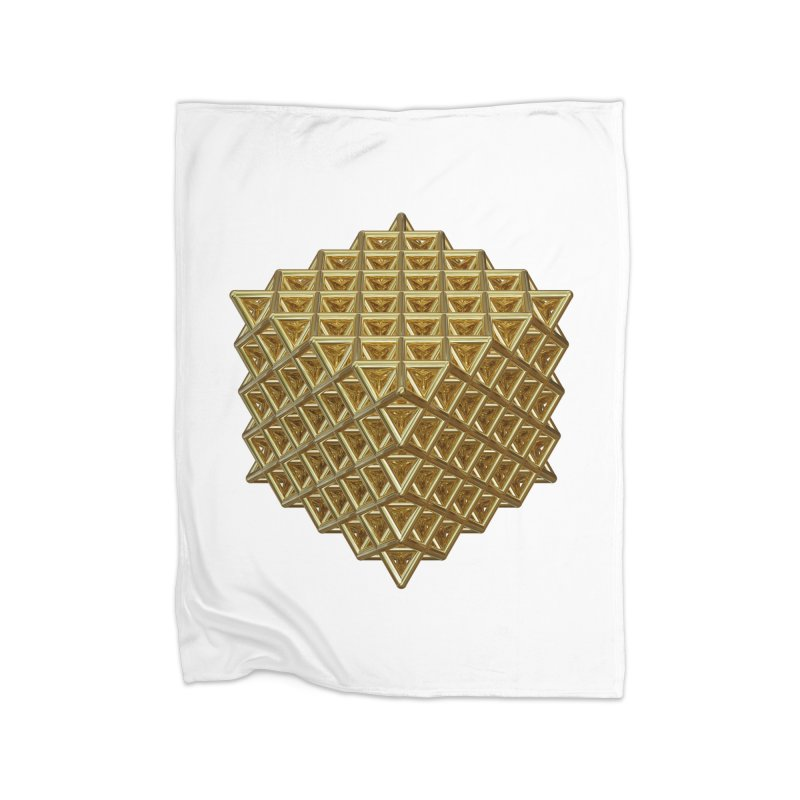 512 Tetrahedron Gold Home Fleece Blanket Blanket by diamondheart's Artist Shop