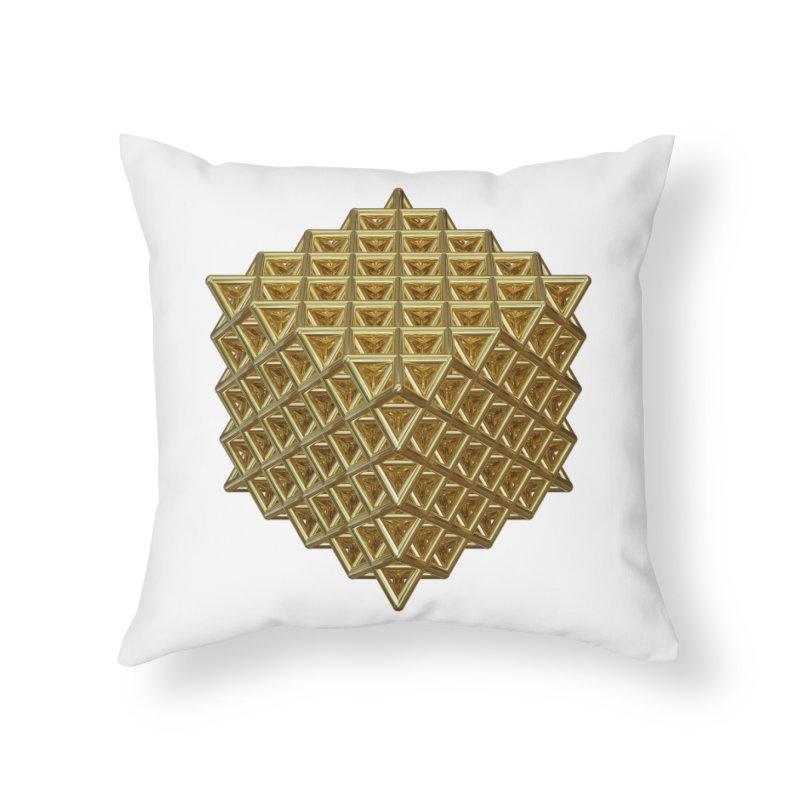 512 Tetrahedron Gold Home Throw Pillow by diamondheart's Artist Shop