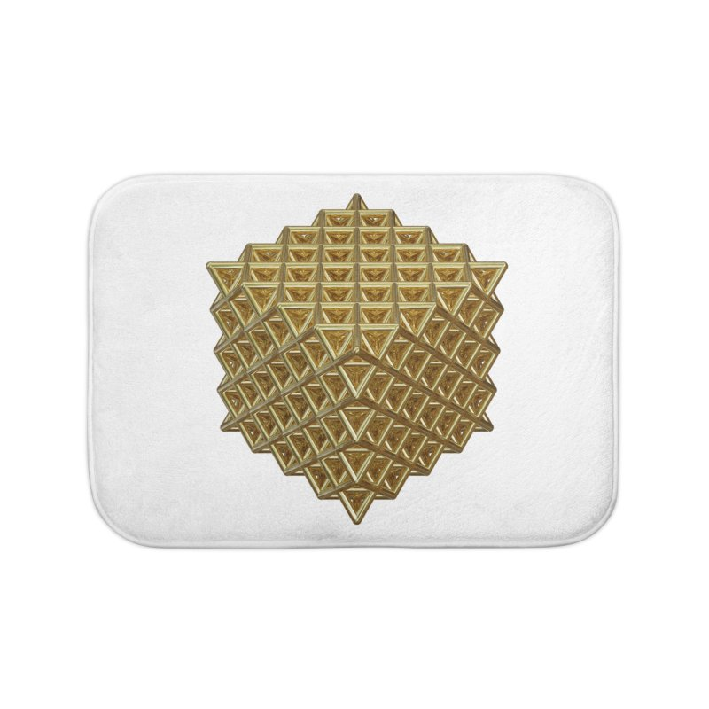 512 Tetrahedron Gold Home Bath Mat by diamondheart's Artist Shop