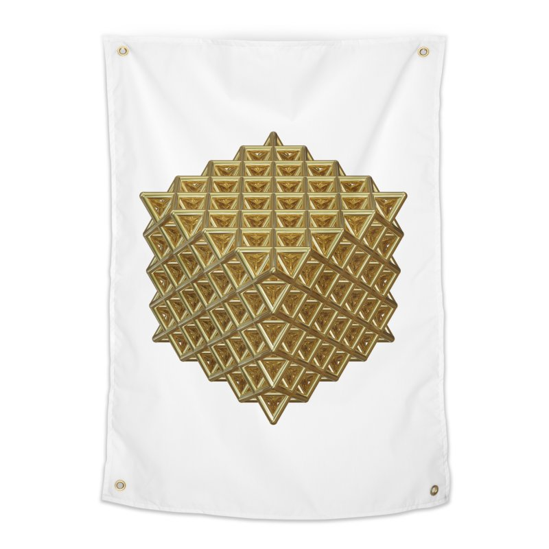 512 Tetrahedron Gold Home Tapestry by diamondheart's Artist Shop