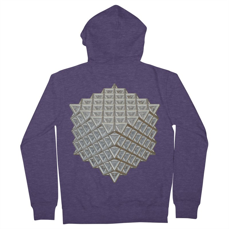 512 Tetrahedron Silver Men's French Terry Zip-Up Hoody by diamondheart's Artist Shop