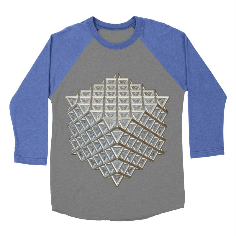 512 Tetrahedron Silver Men's Baseball Triblend Longsleeve T-Shirt by diamondheart's Artist Shop