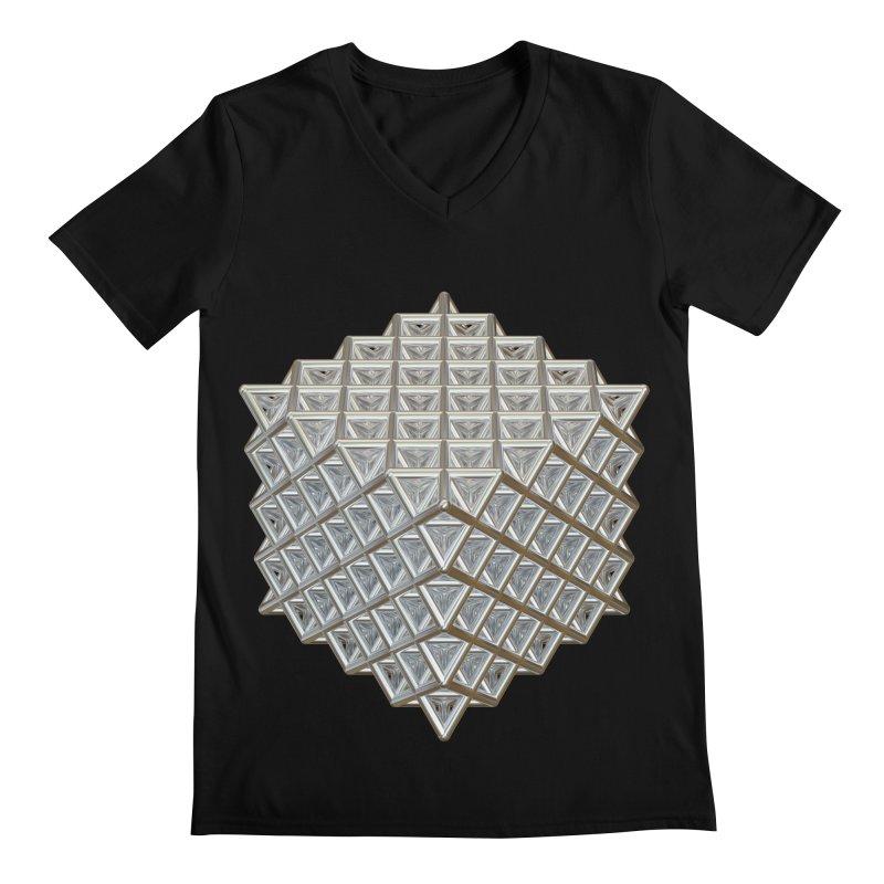 512 Tetrahedron Silver Men's Regular V-Neck by diamondheart's Artist Shop