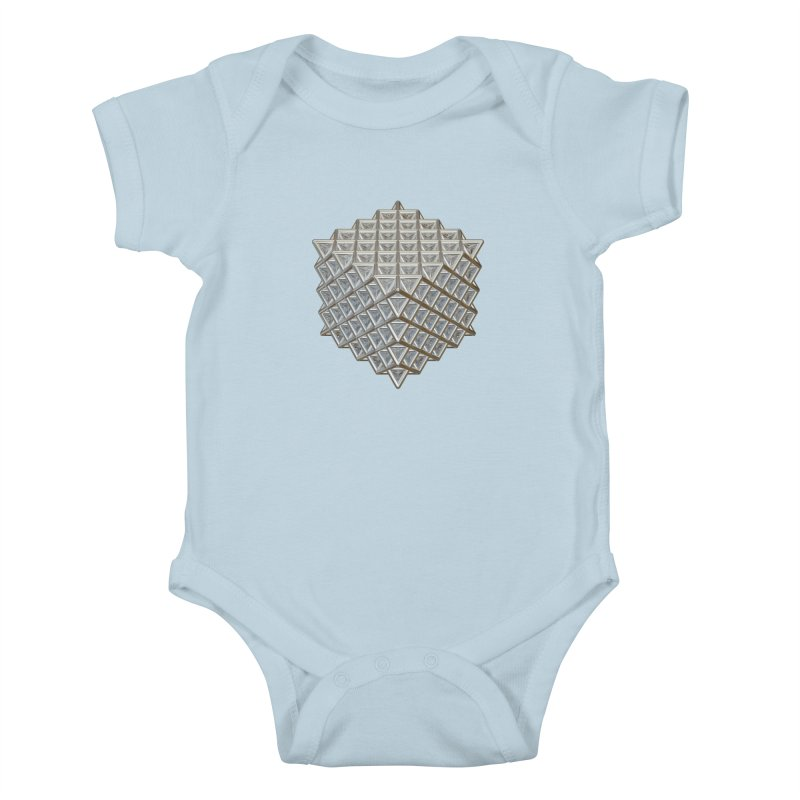 512 Tetrahedron Silver Kids Baby Bodysuit by diamondheart's Artist Shop