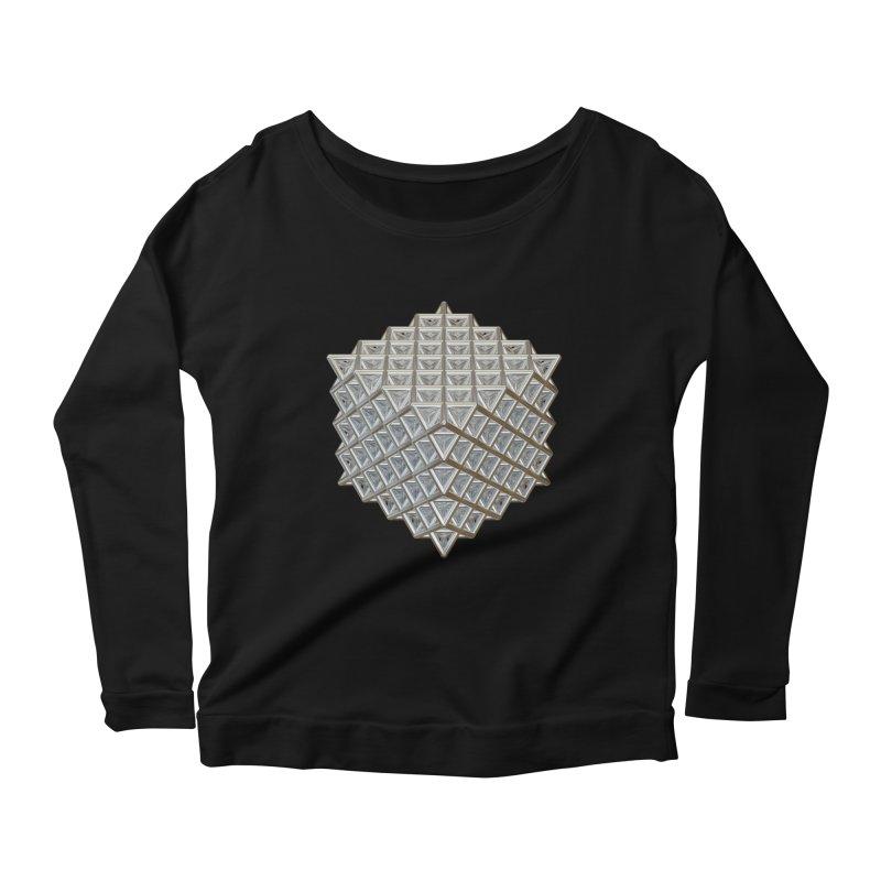 512 Tetrahedron Silver Women's Scoop Neck Longsleeve T-Shirt by diamondheart's Artist Shop