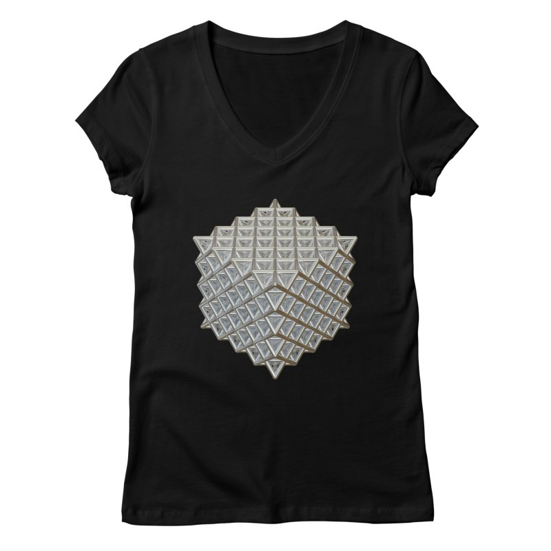 512 Tetrahedron Silver Women's Regular V-Neck by diamondheart's Artist Shop