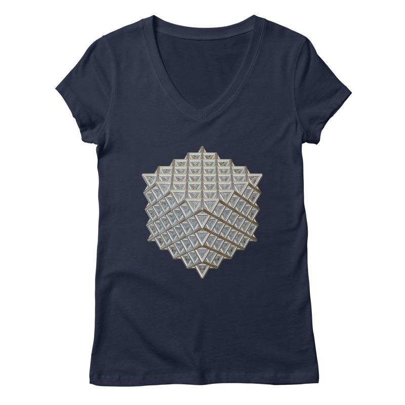 512 Tetrahedron Silver Women's Regular V-Neck by diamondheart's Artist Shop