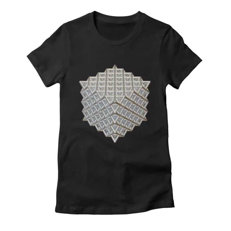 512 Tetrahedron Silver Women's Fitted T-Shirt by diamondheart's Artist Shop