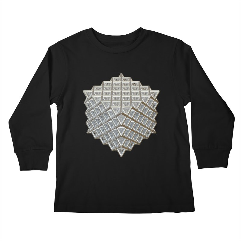 512 Tetrahedron Silver Kids Longsleeve T-Shirt by diamondheart's Artist Shop