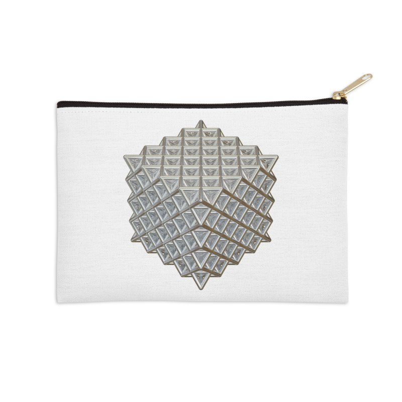 512 Tetrahedron Silver Accessories Zip Pouch by diamondheart's Artist Shop
