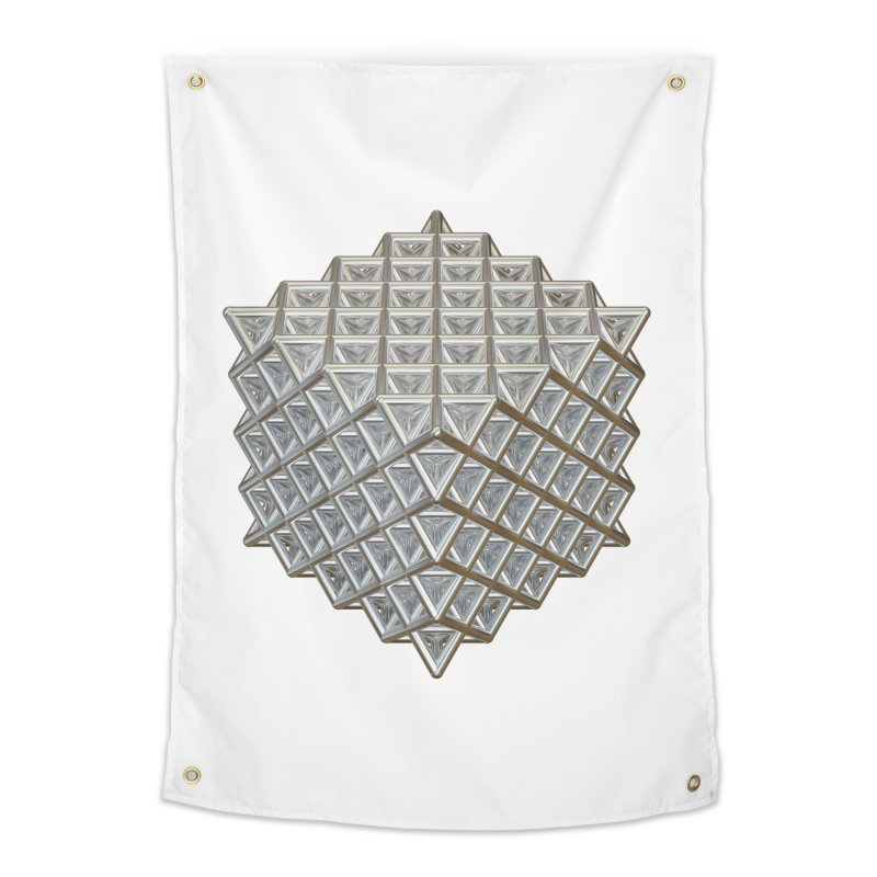 512 Tetrahedron Silver Home Tapestry by diamondheart's Artist Shop