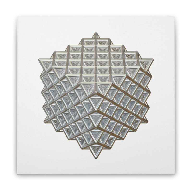 512 Tetrahedron Silver Home Stretched Canvas by diamondheart's Artist Shop