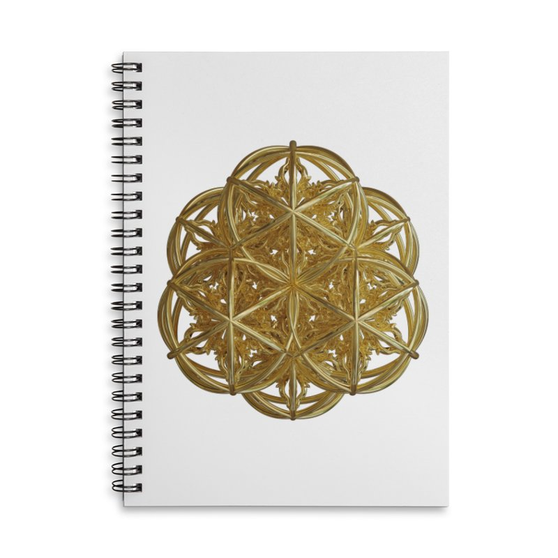 56 Dorje Object Gold v2 Accessories Lined Spiral Notebook by diamondheart's Artist Shop