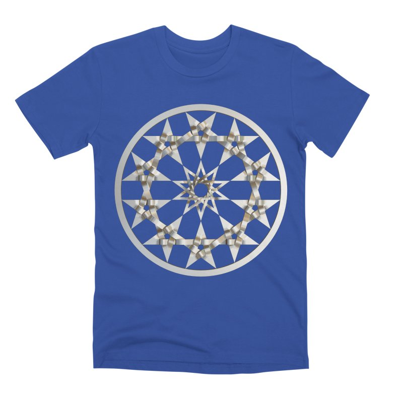 12 Woven 5 Pointed Stars Silver Men's Premium T-Shirt by diamondheart's Artist Shop