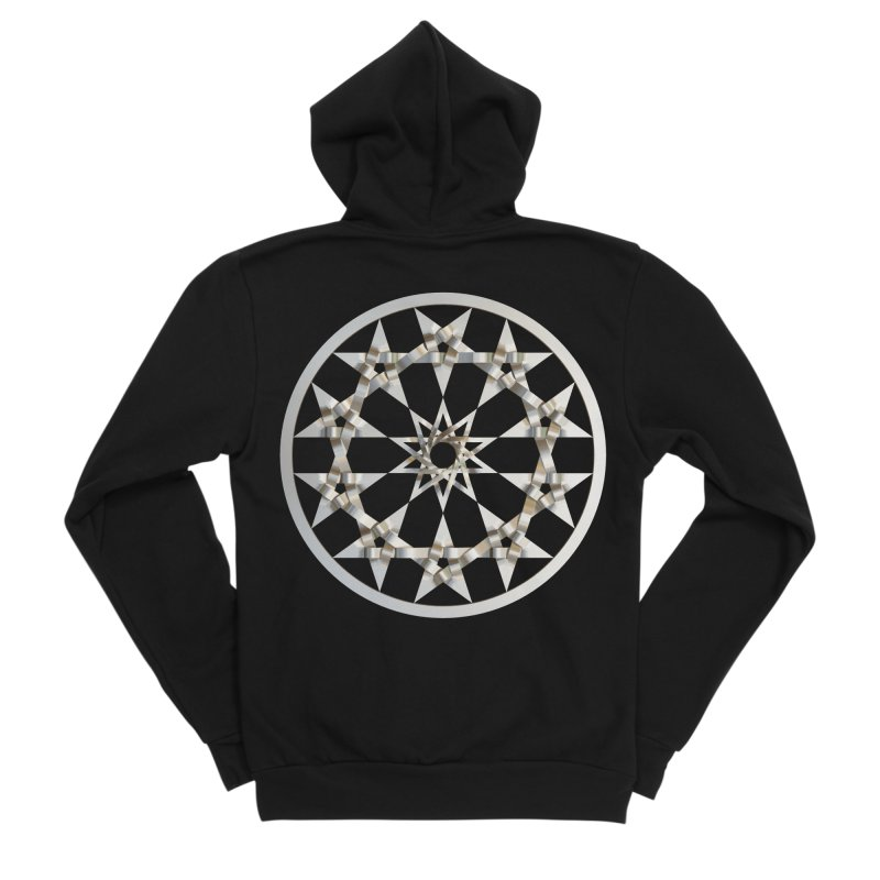 12 Woven 5 Pointed Stars Silver Men's Sponge Fleece Zip-Up Hoody by diamondheart's Artist Shop