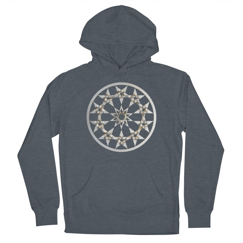 12 Woven 5 Pointed Stars Silver Men's French Terry Pullover Hoody by diamondheart's Artist Shop