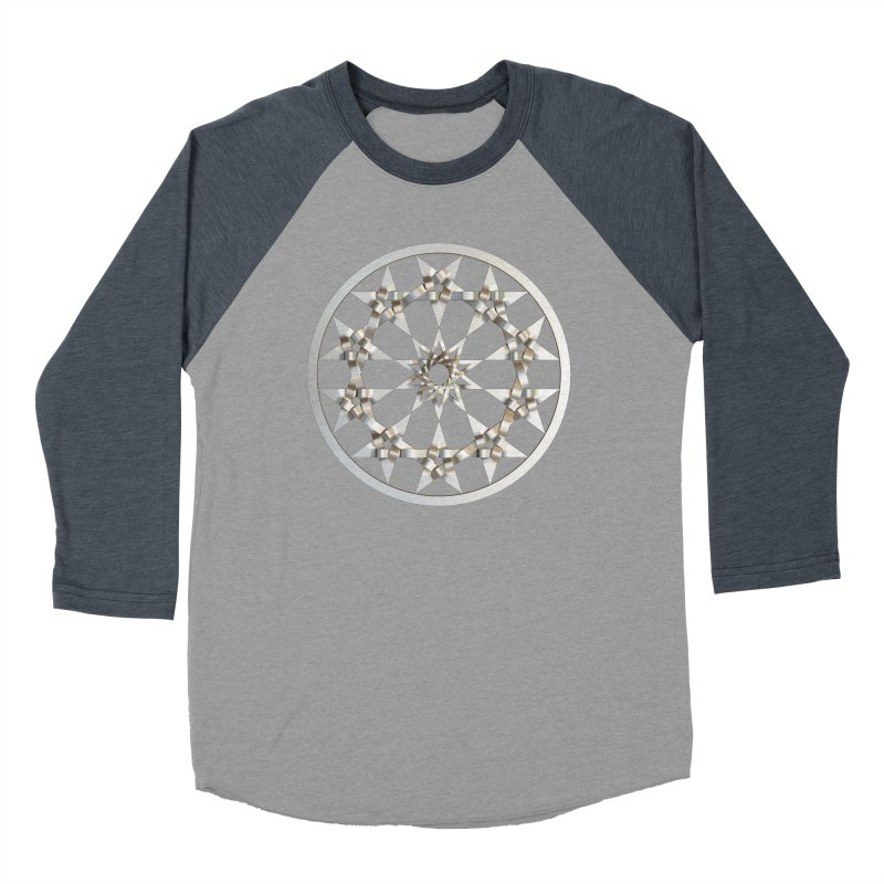 12 Woven 5 Pointed Stars Silver Men's Baseball Triblend Longsleeve T-Shirt by diamondheart's Artist Shop