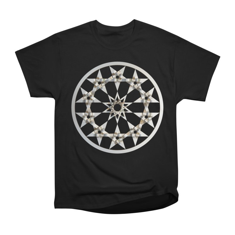 12 Woven 5 Pointed Stars Silver Men's Heavyweight T-Shirt by diamondheart's Artist Shop