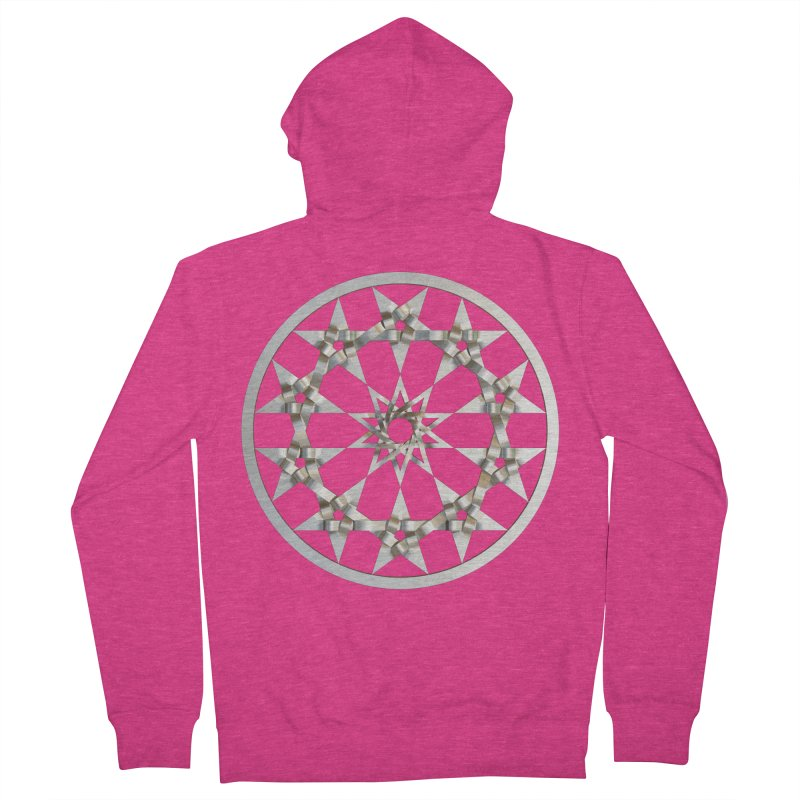 12 Woven 5 Pointed Stars Silver Women's French Terry Zip-Up Hoody by diamondheart's Artist Shop