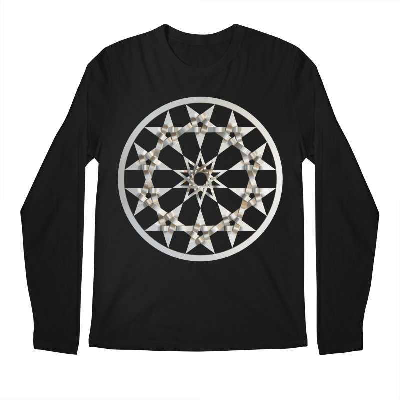 12 Woven 5 Pointed Stars Silver Men's Regular Longsleeve T-Shirt by diamondheart's Artist Shop