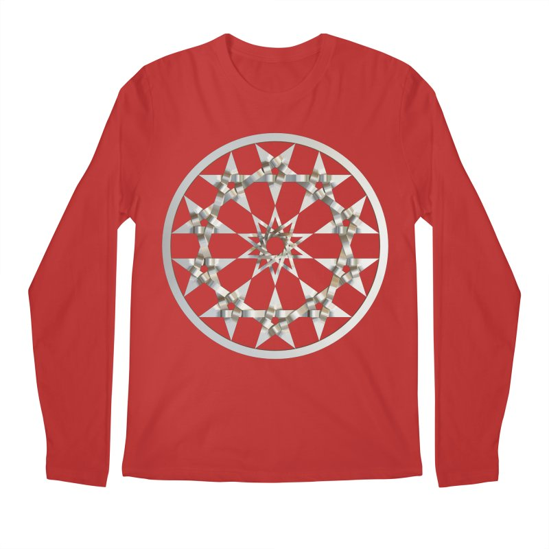 12 Woven 5 Pointed Stars Silver Men's Regular Longsleeve T-Shirt by diamondheart's Artist Shop