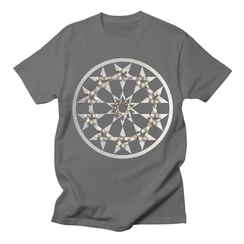 12 Woven 5 Pointed Stars Silver Men's Regular T-Shirt by diamondheart's Artist Shop
