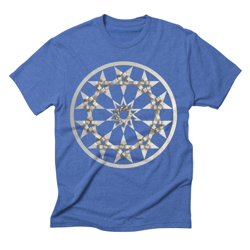 12 Woven 5 Pointed Stars Silver Men's Triblend T-Shirt by diamondheart's Artist Shop