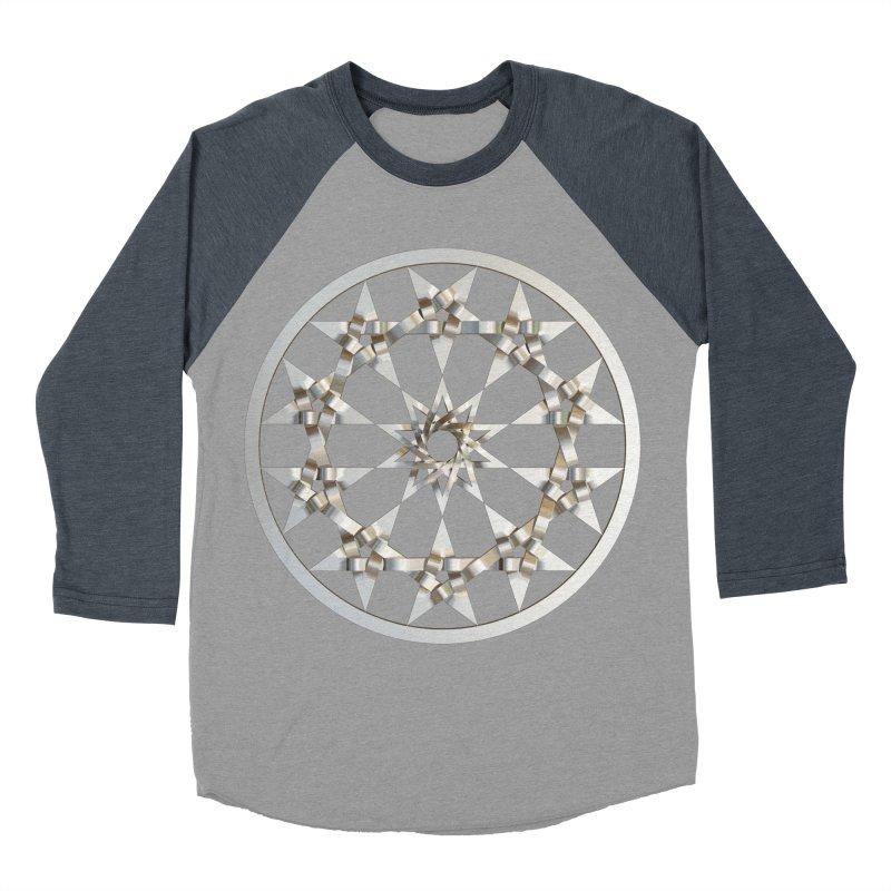 12 Woven 5 Pointed Stars Silver Men's Baseball Triblend Longsleeve T-Shirt by diamondheart's Artist Shop