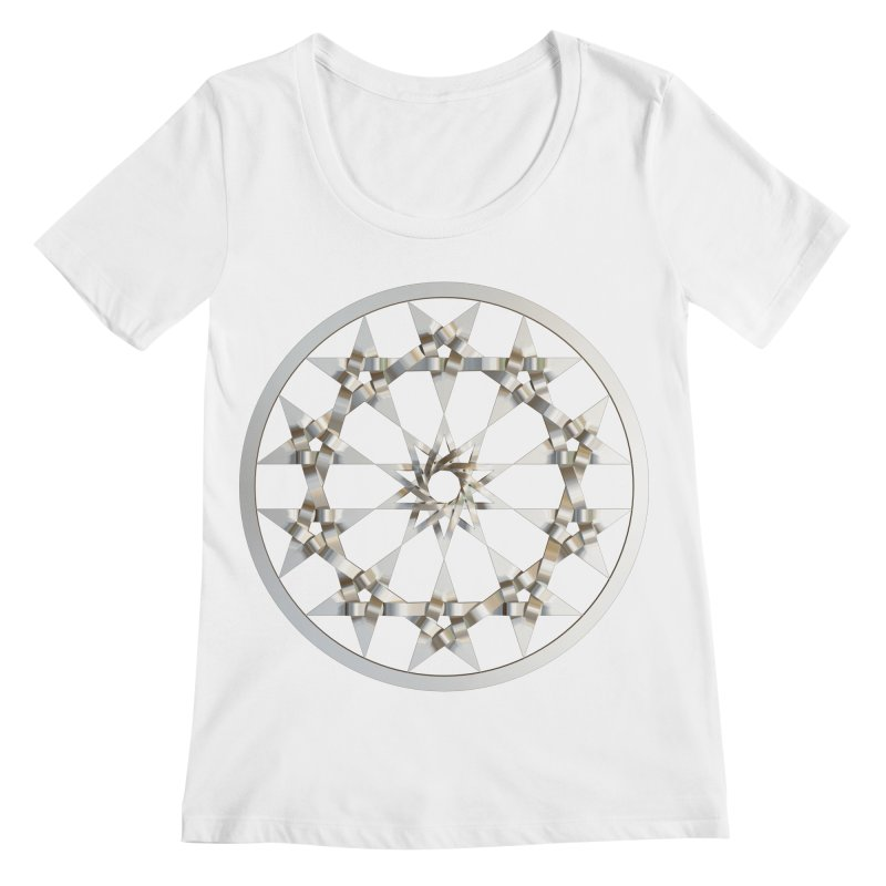 12 Woven 5 Pointed Stars Silver Women's Regular Scoop Neck by diamondheart's Artist Shop