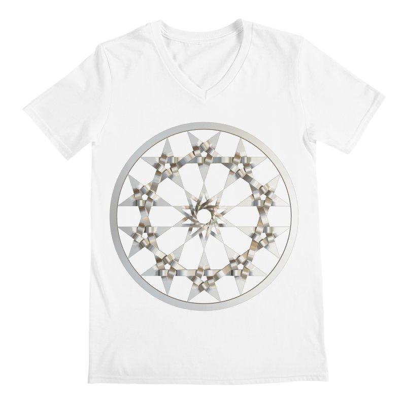 12 Woven 5 Pointed Stars Silver Men's V-Neck by diamondheart's Artist Shop