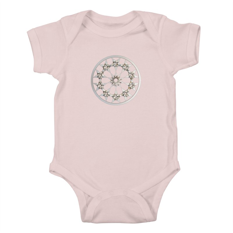 12 Woven 5 Pointed Stars Silver Kids Baby Bodysuit by diamondheart's Artist Shop