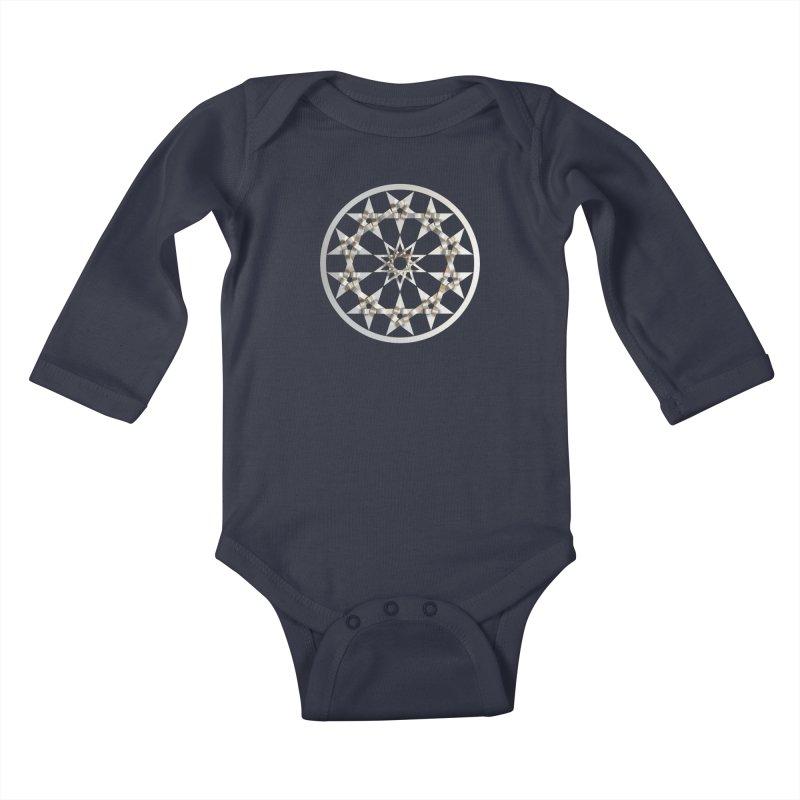 12 Woven 5 Pointed Stars Silver Kids Baby Longsleeve Bodysuit by diamondheart's Artist Shop