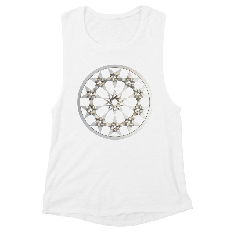 12 Woven 5 Pointed Stars Silver Women's Muscle Tank by diamondheart's Artist Shop