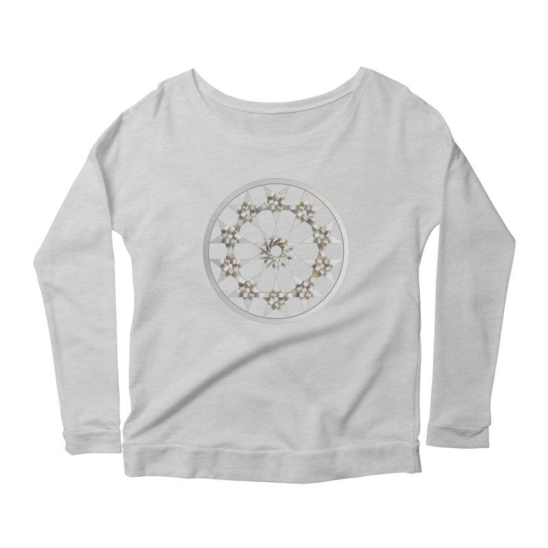 12 Woven 5 Pointed Stars Silver Women's Scoop Neck Longsleeve T-Shirt by diamondheart's Artist Shop