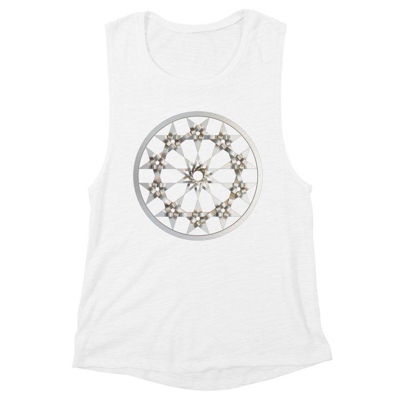 12 Woven 5 Pointed Stars Silver Women's Muscle Tank by diamondheart's Artist Shop