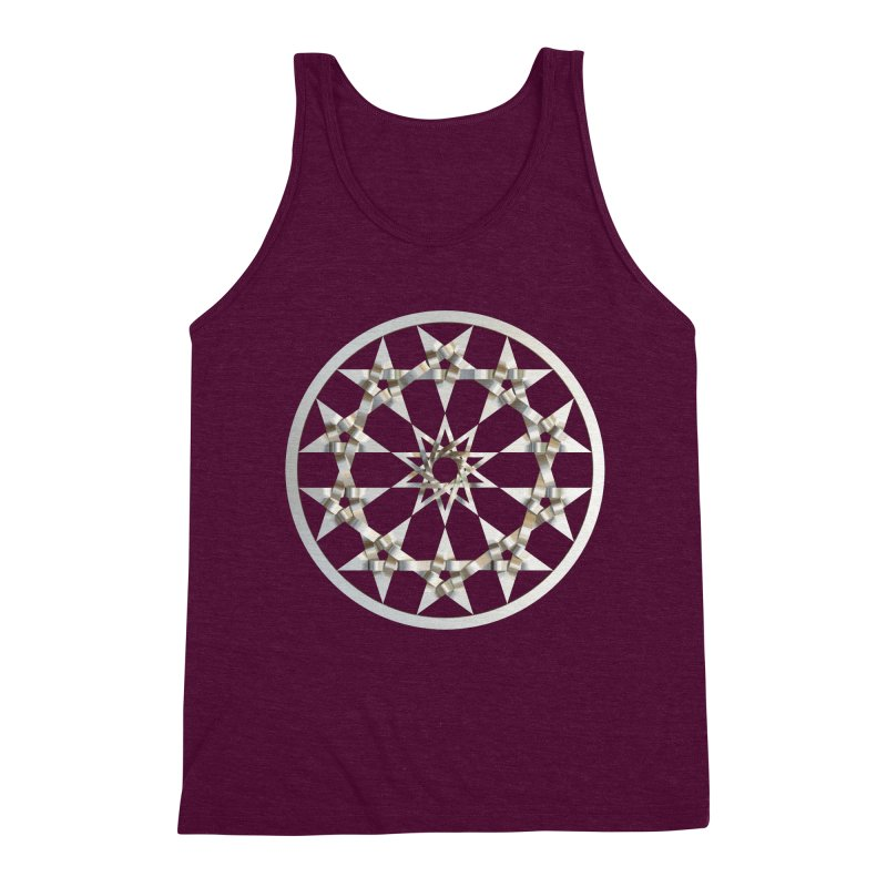12 Woven 5 Pointed Stars Silver Men's Triblend Tank by diamondheart's Artist Shop