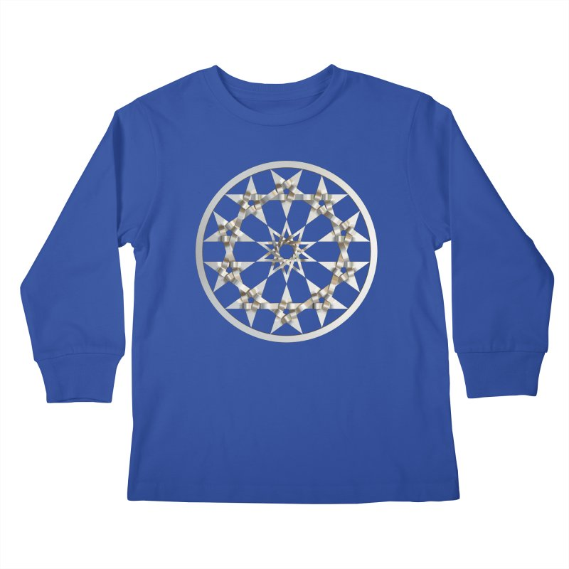 12 Woven 5 Pointed Stars Silver Kids Longsleeve T-Shirt by diamondheart's Artist Shop