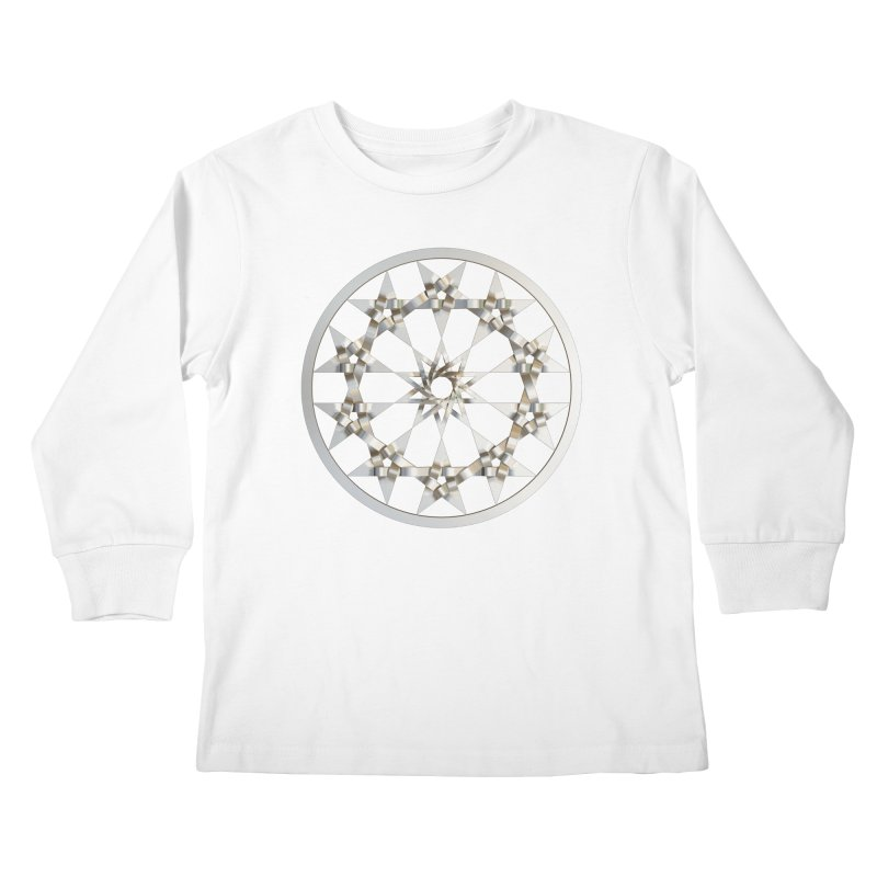 12 Woven 5 Pointed Stars Silver Kids Longsleeve T-Shirt by diamondheart's Artist Shop